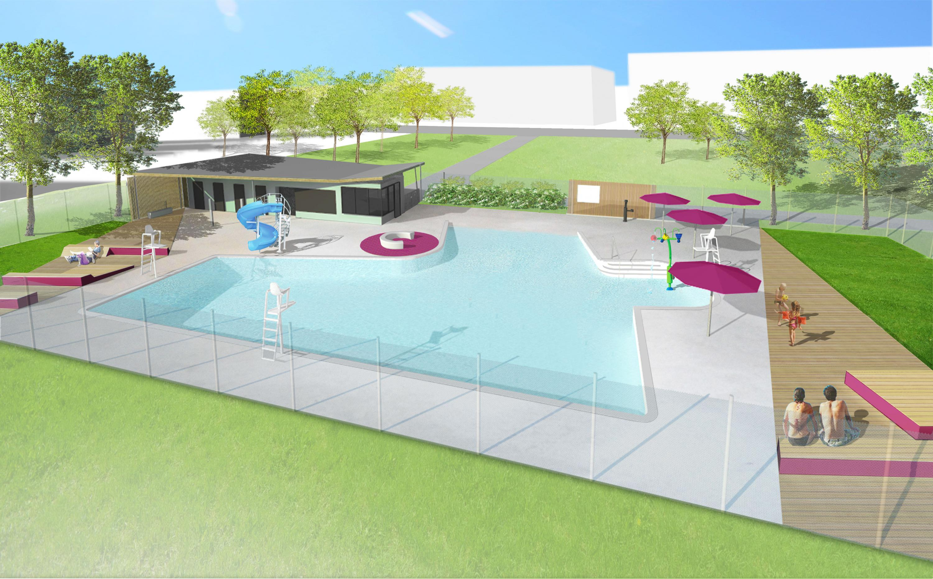 Piscine Bariteau - illustration 3d